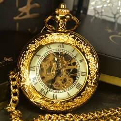 TIEDAN стимпанк Скелет Механические карманные часы для мужчин под старину Элитный бренд ручной Ветер цепочки и ожерелья карман