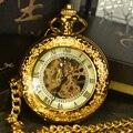 TIEDAN Стимпанк Каркасного Механически Карманные Часы Мужчины Античная Luxury Brand Рука Ветер Ожерелье Карманные & Fob Часы Цепь Золотая