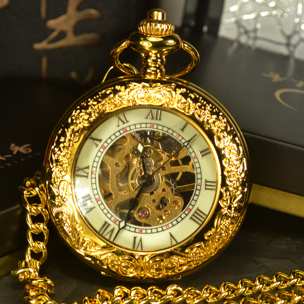 TIEDAN Steampunk Skeleton Mechanical Pocket Watches Men Antique Luxury Brand Hand Wind Necklace Pocket & Fob Watch Chain Gold new arrival crocodilian veins embellished handbag slanting bag for female