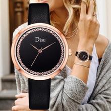 Disu Brand Fashion Leather Watches 2019 New Minimalist Wrist Watch Women Mujer Bayan Kol Saati Montre Feminino