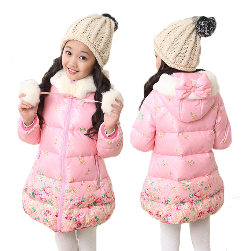ФОТО Girls Winter Coat Cotton Floral Pattern Warm Children'S Winter Hooded Jackets Parkas Kids Clothes Christmas Clothing Size 5- 12