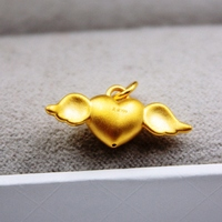 New Arrival Pure 999 24K Yellow Gold Women's 3D Heart Angel Pendant 1 1.3g