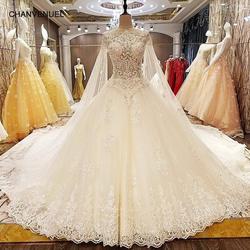 LSX63889 trajes novias 2018 nuevos бальное платье Прозрачный молния Назад cap рукава Новые свадебные платья Реальные фотографии