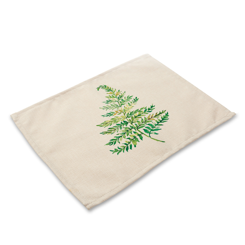 Pastoral Green Leaves Pattern Table Placemats Rectangle Table Mats for Dining Table Linen Kitchen Accessories Decoration Home in Mats Pads from Home Garden
