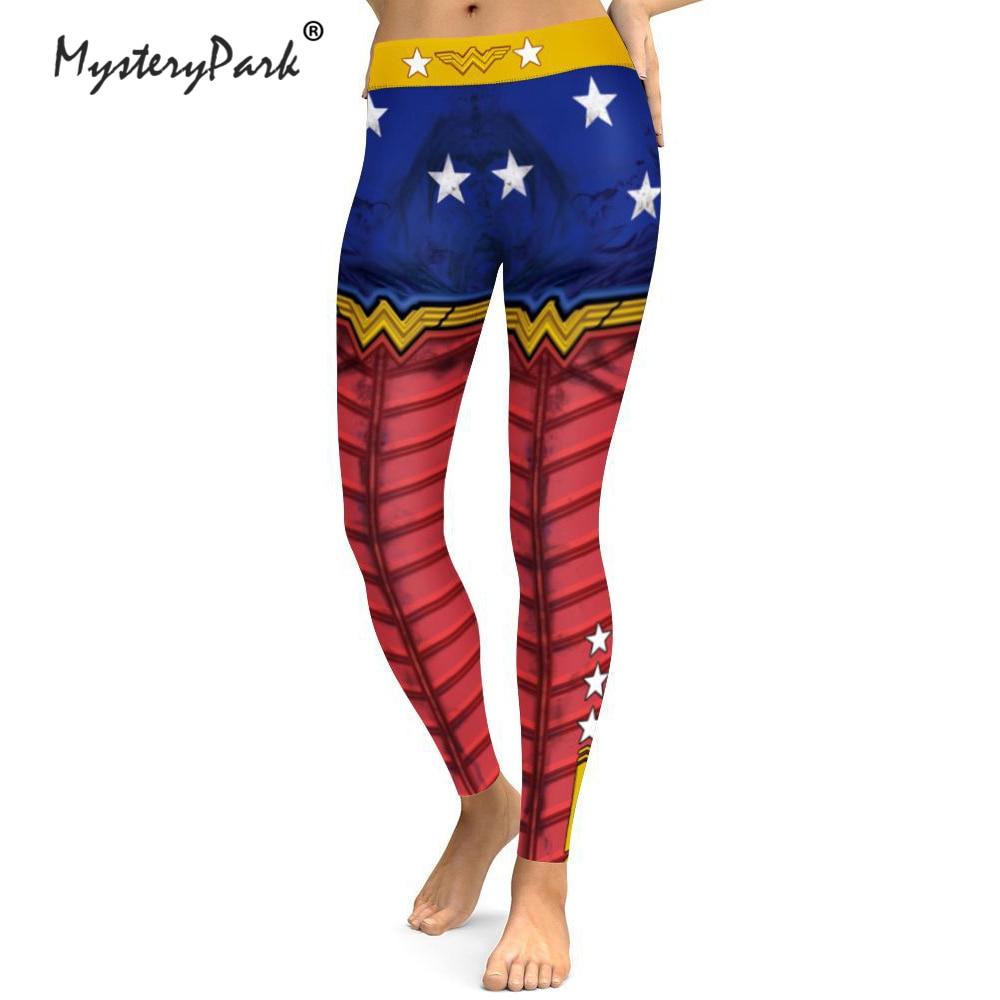MysteryPark Women High Waist Slim Fitness Leggings Pants For Female Wonder Woman Printed Bottoms Leggings