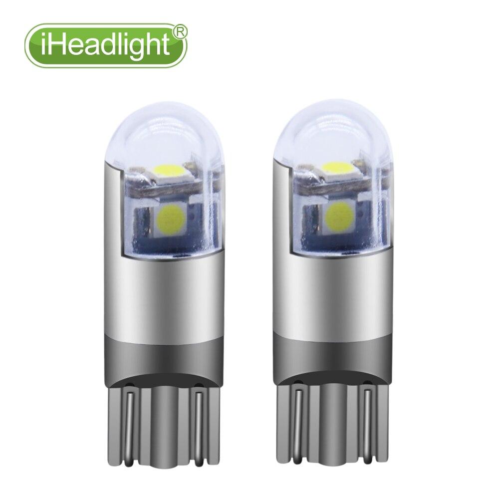 2pcs T10 LED Trowch lamp ochr Ochr car W5W Golau darllen Gwyn 194 168 Lletem 3smd 3030 lamp lled a lamp Signal Bwlb Gwrthdroi12V