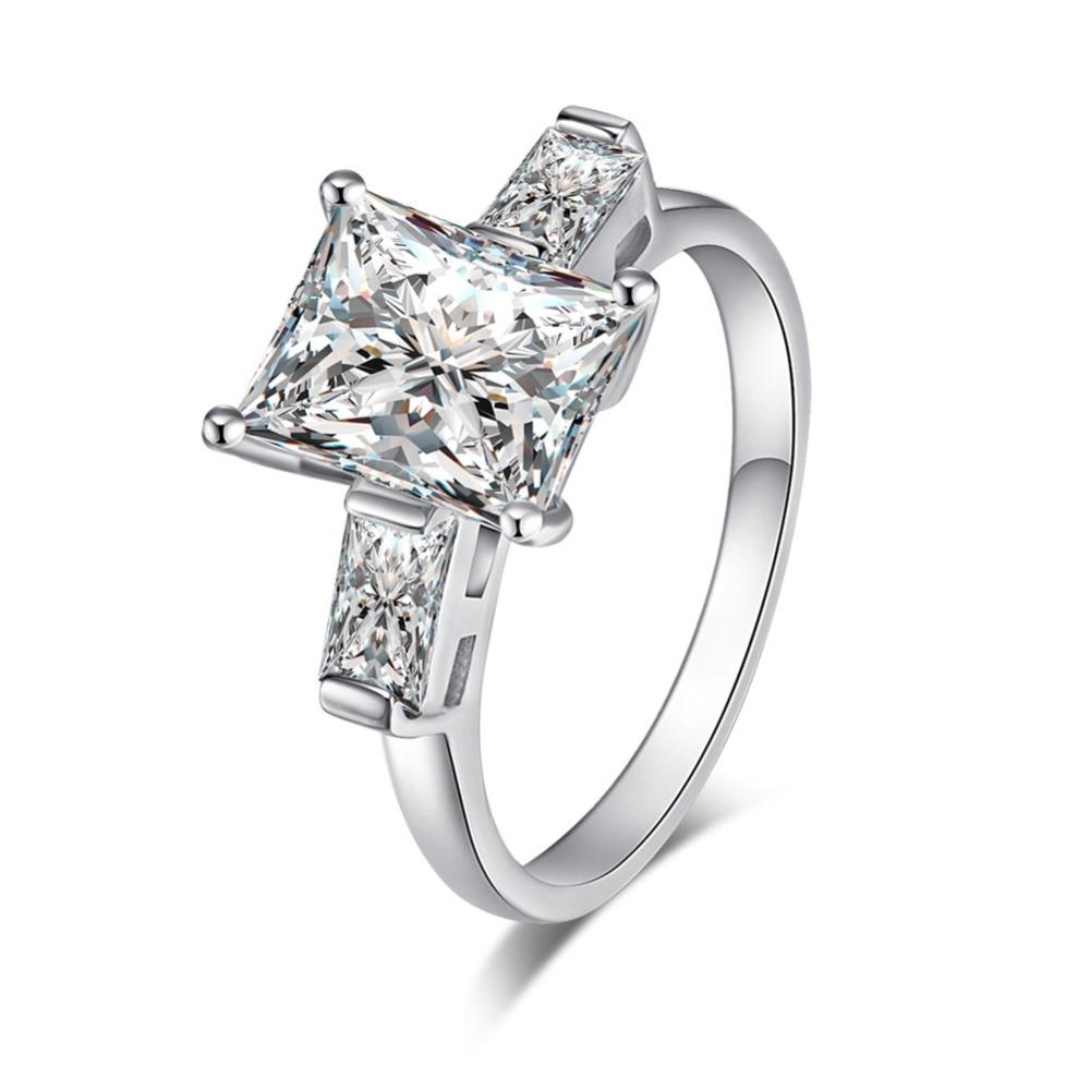 Unique Design Delicate Square Big Stone Crystal Engagement ...
