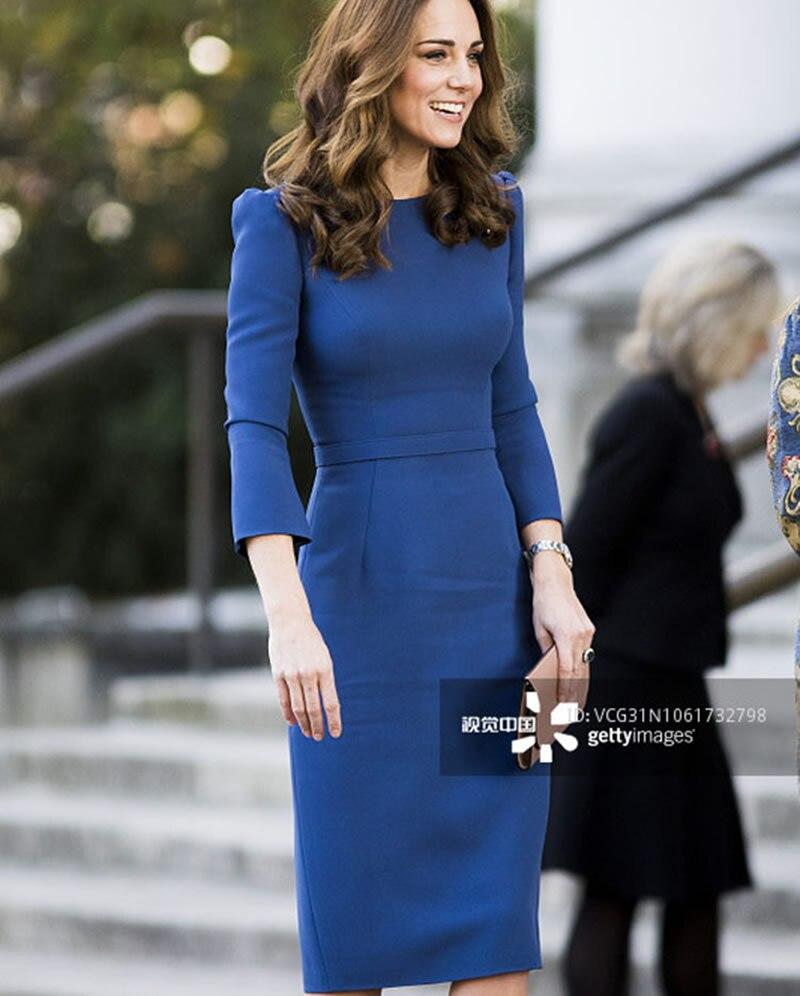 Nouvelle robe de princesse Kate Middleton mode solide manches longues col rabattu robes 5668
