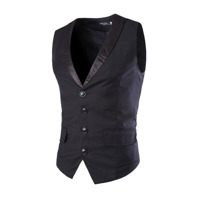 New Designs Mens Suit Vest Patchwork V-Neck 4 Buttons Blazer Weste Grey Black Wedding Dress Vests For Men Slim Fit Waistcoat