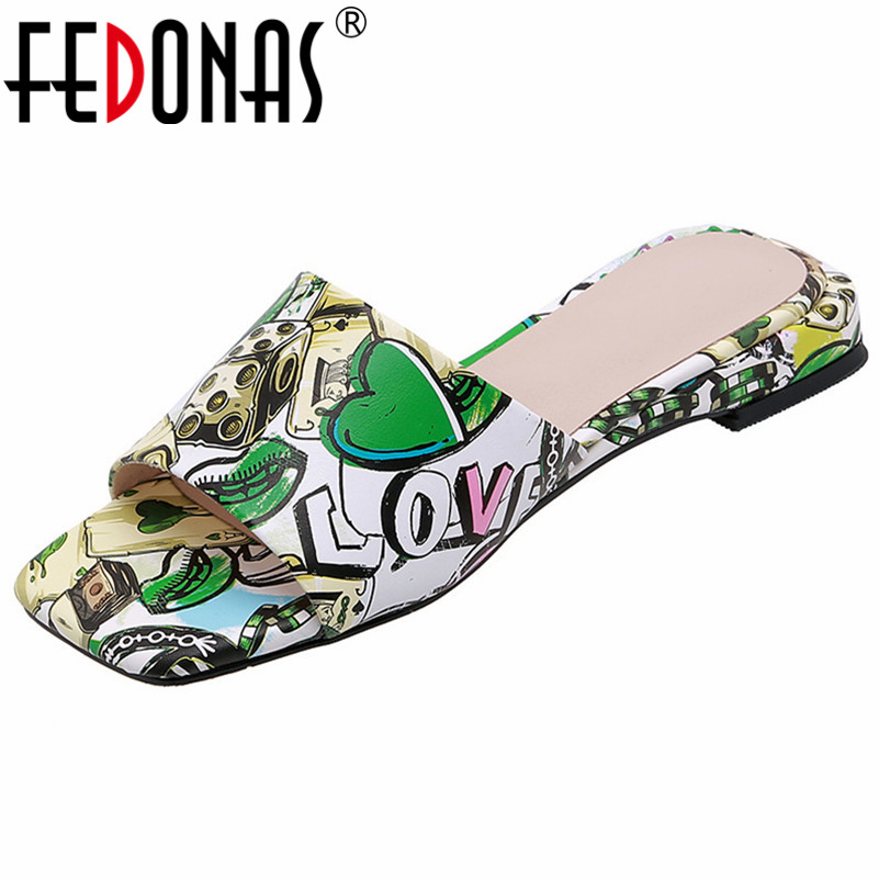 FEDONAS 夏ファッション甘いプリントスクエアトゥ低女性のサンダル浅いスリップ本革カジュアル基本靴女性  グループ上の 靴 からの ローヒール の中 1