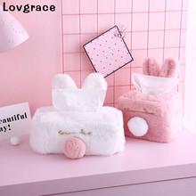 Sweet Color Pink White Plush Rabbit Tissue Box Durable Home Car Hotel Sofa Paper Holder Napkin Case Pouch Girls Gift