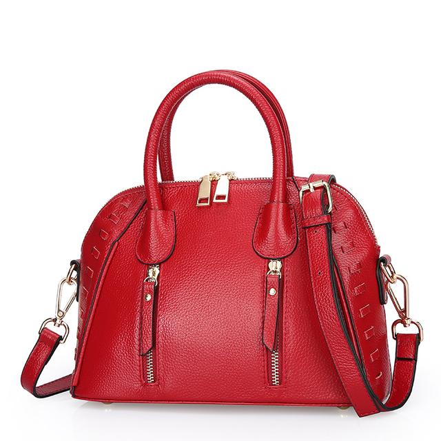 ESUFEIR Genuine Leather Women handbag  Famous Brand Women Bag Fashion Alligator Pattern Leather Shoulder Bag Classic Shell Bag
