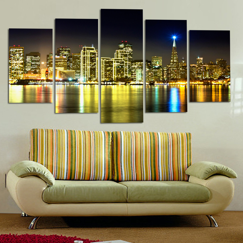 Free Shopping Hot Loved Canvas Paintings City Building Houses On The ...