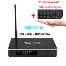Egreat A5 UHD Android TV doboz és ajándék Wireless Keyboard Professional 4K BD menü HDD Médialejátszó HDR 2G / 8G 802.11AC WIFI 1000M LAN