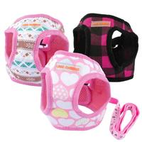 Cute Puppy Dog Harness and Walking Leads Set 4 Sizes Pet Winter Vest for Small Dogs Chihuahua Teddy S M Pink Blue Black Colors