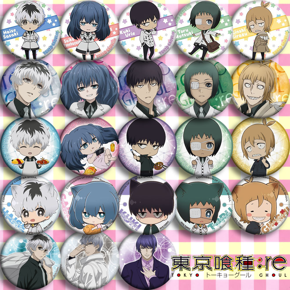 Anime  Tokyo Ghoul Commission  Cosplay Badge Cartoon Collection Bags Badges For Backpacks Button Clothes Brooch Pins Gifts