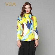 VOA 2017 Fall Winter Fashion Goose Yellow Casual Silk Jacket Boho Women Parka Long Sleeve Pillow Collar Heavy Coat M3266