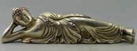 Crafts statue Collectible Decorated Old Handwork Tibet Silver Carved Big Buddha Recline Statue
