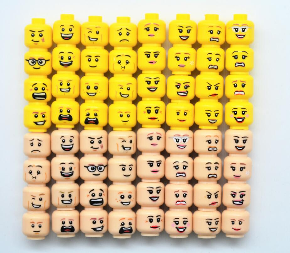 Super Heroes Emoji Expression Figures Yellow and Flesh Skin Color Cool Face Building Blocks Boy and Girl Toys cloning and expression of taq polymerase gene