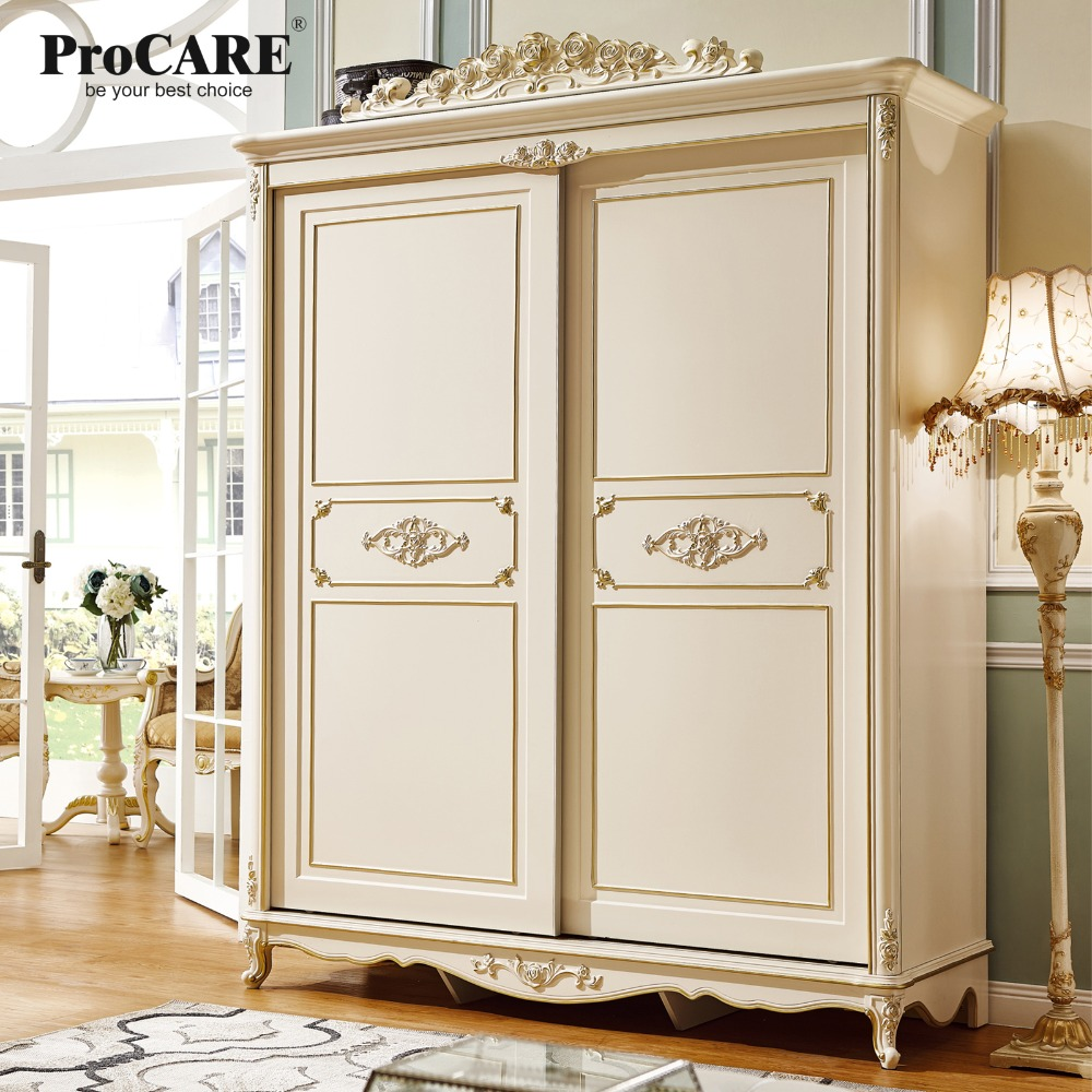 luxury European and American style bedroom furniture rose series Sliding door wardrobe font b closets b