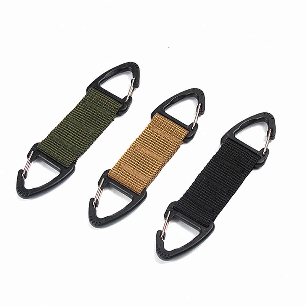 1PC Molle Clip Webbing Belt EDC High Strength Nylon Carabiner Hanging Chain Backpack Key Hook Outdoor Military Webbing Buckle