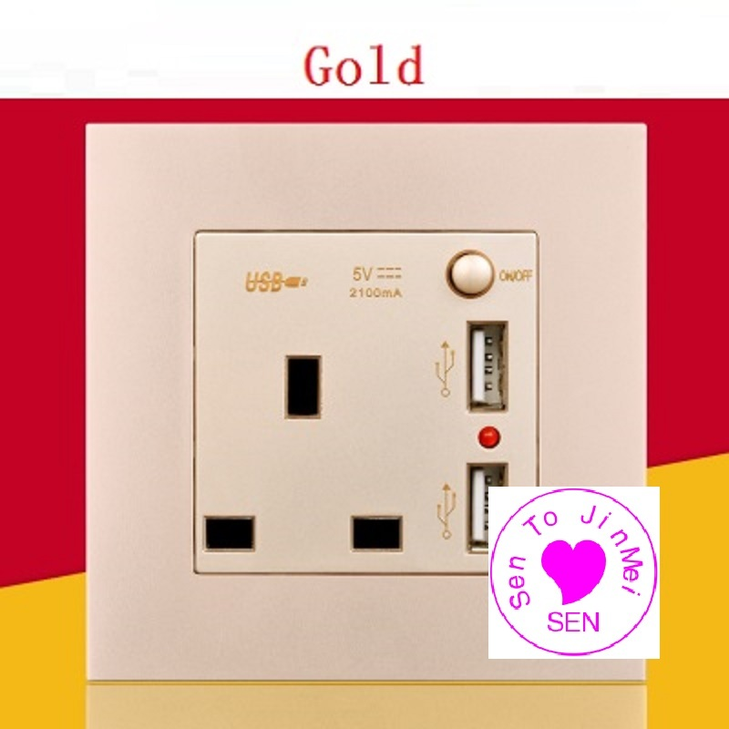 Concealed mounted panel With switch British socket with dual USB charging square hole switch panel 13A