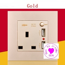 Concealed mounted panel With switch British socket with dual USB charging square hole switch panel 13A British standard socket