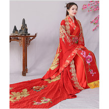 Luxury Women Big tailing Ancient Dramaturgic Costume Queen Dress Brand New Female Chinese Tang Dynasty Wedding Dresses Cosplay(China)