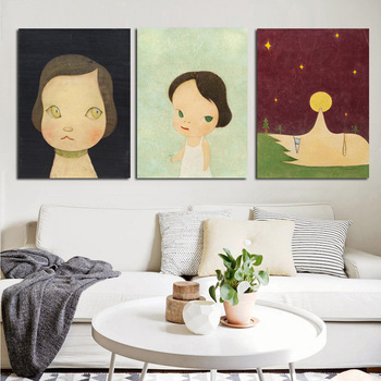 3 Panels Cartoon Girls Japanese Painting Yoshitomo Nara Sleepwalking Doll Print Canvas Art Poster For Kids Room Christmas Decor image