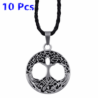 Wholesale 10 Pcs Mens Boys Irish Celtic knot Tree of life Pendant With Black Necklace Jewelry WLP219