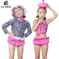 LEBESI 2018 Nuove Ragazze Del Bikini Gonna Set di Tre Pezzi Costumi Da Bagno Per Bambini Bowknot Stampa Plus Size Costume Da Bagno di Trasporto Cuffia