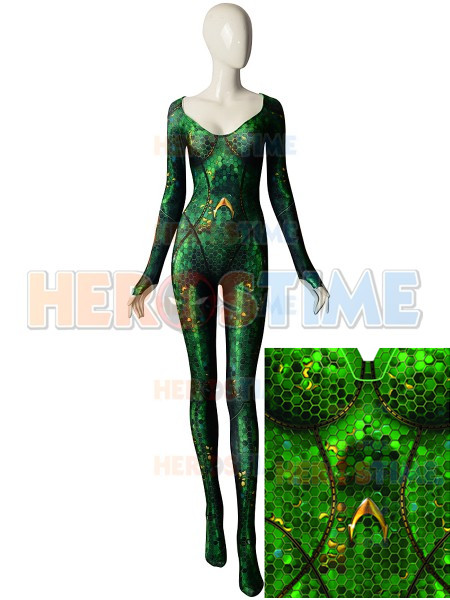 3D Print Quinn Mera Cosplay Costume Queen Mera Justice League Zentai Bodysuit Aquaman Superhero Catsuit Can Custom made