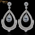 Luxury White Gold Plated Setting Romantic Big Hollow Out Oval CZ Crystal Long Drop Women Wedding Earring Jewelry For Brides E140