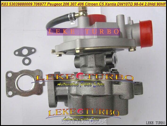 K03 09 53039700009 VP1 VF40A104 706977-0001 706977 Turbo For Peugeot 206 307 406 For Citroen C5 Xantia DW10TD RHY 2.0L HDI 90HP peugeot 307 1 6 hdi