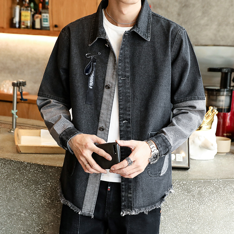 US $22.46 22% OFF|2019 Spring and Summer Fashion Hot New Men's Lapel Denim Jacket Casual Self cultivation Large Size Loose Motorcycle Men's Jacket in