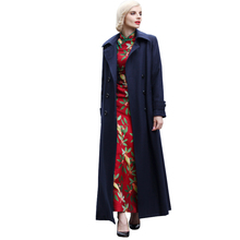2016 S-XXXL Fashion Casual Double Breasted Wool Blend Coat Fall Winter Notch Collar Navy Blue Maxi Long Jacket Plus Size