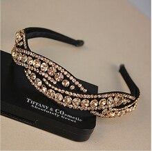2016 Nieuwe Lady Luxe Broadside Strass Haarbanden Glitter Twist Hoofdbanden Voor Vrouwen Haar Accessoire haar sieraden 3 kleuren