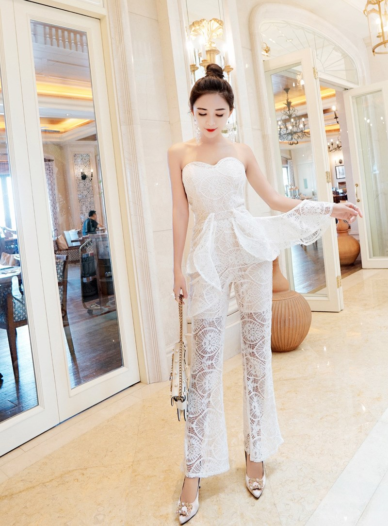 2018 Summer Autumn White Black Lace Jumpsuits See Though Strapless Jumpsuits Elegant Flare Long Bodycon Rompers