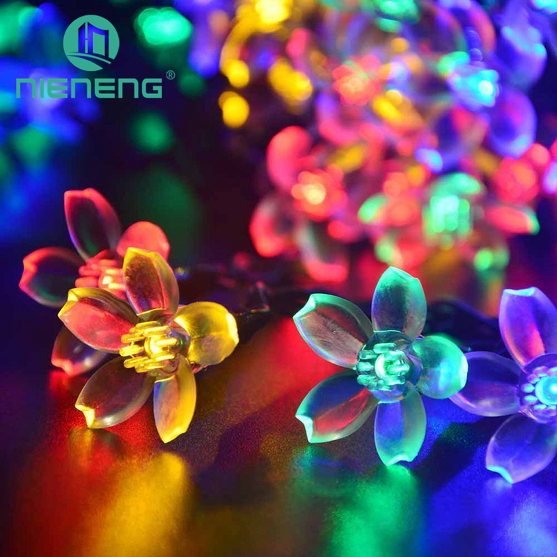 Nieneng Solar Lights String LED Decorative Flashing Lights Garden Landscape Light Chain Led Flower Spotlight Outdoor ICD90080 solar energy lantern string lights led outdoor decorative light festival specials