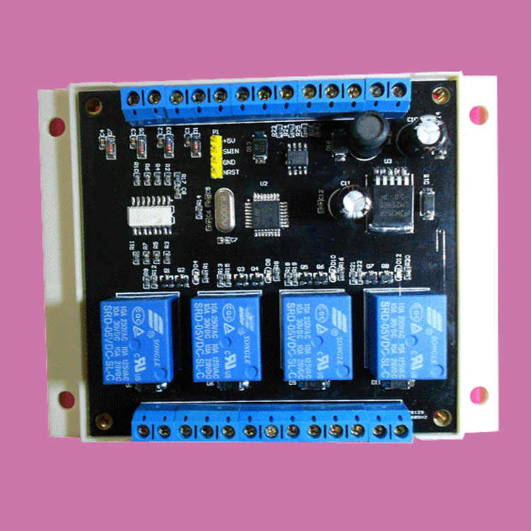 MODBUS RTU protocol 4 into four RS485 control relay module switch input and  output PLC modules