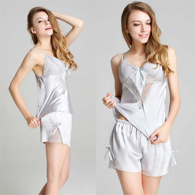 8db714f42 New Satin Pyjamas Women Summer Pajama Set Sexy Fashion Black Lace Vest  Lady s Silk Sleepwear Adult Short Temptation Lace Pajamas