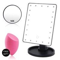 Сенсорное зеркало для макияжа с 16/22 светодиодный свет 10x увеличительное стекло Гибкая косметика освещенные зеркала для макияжа USB или батар...