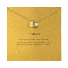 Three Round Circle Necklace For Women Minimalist Pendant Gold Color Chain Statement Choker Necklaces Valentine's Day Gift Card fashion angel wings necklace for women animal pendant gold color chain statement choker necklaces guardian angel gift card