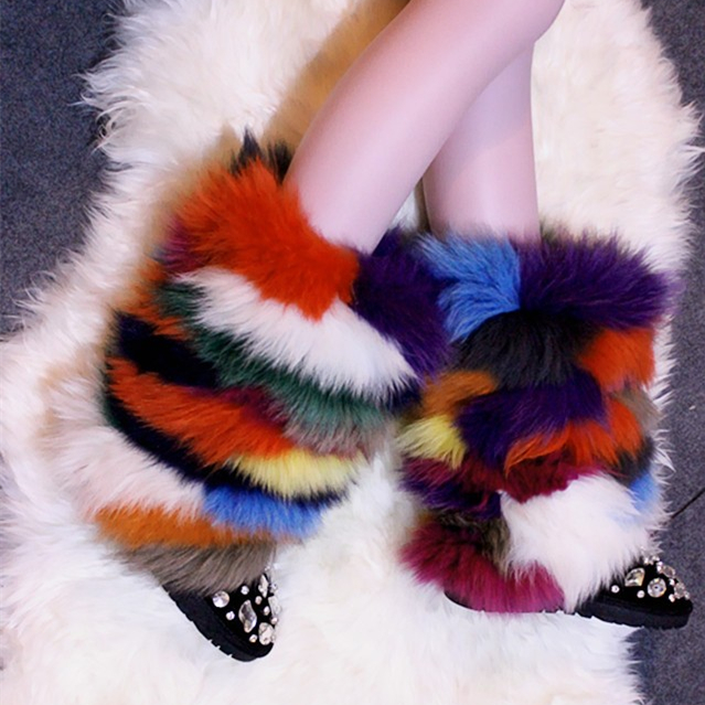 Zobairou Winter Luxury Fox Fur Warm Snow Boots Fashion Women Winter Boots Crystal Women Boots Comfort Flat Colorful Shoes Woman