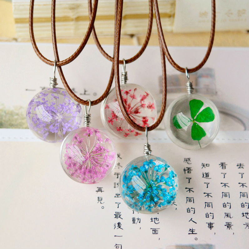 Hot Glass Balls Real Dried Flowers Green Clover Necklace Small Glass Vials Pendant Make a Wish Jewellery St Patricks Day nxl061