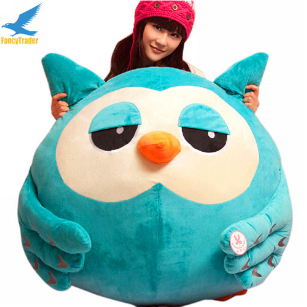 Fancytrader 35'' / 90cm Super Soft Giant Stuffed Lovely Plush Biggest Animal Owl Toy, Great Gift For Kids, Free Shipping FT50403 fancytrader 2015 novelty toy 24 61cm giant soft stuffed lovely plush seal toy nice gift for kids free shipping ft50541