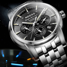 hot deal buy high quality tritium watch mens watches mechanical wrist watches chronograph stainless steel luminous week month 100m waterproof