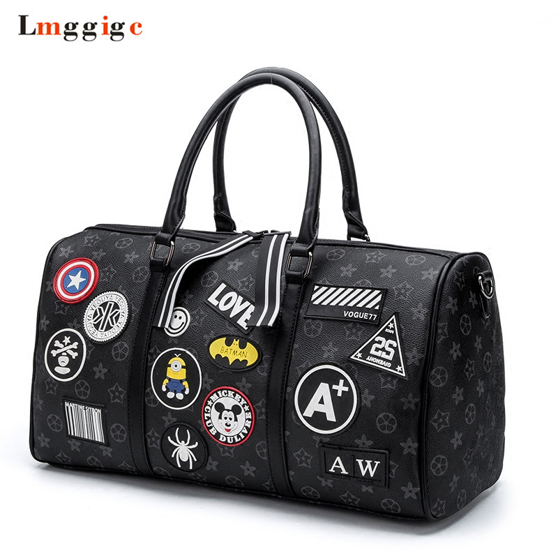 Travel bags,Reduction Bag, Shoulder Suitcases,Fashion PU leather Handbag,Personality Package,Large-capacity Pocket 2016 fashion graffiti printed high quality pu leather handbag platinum package buckle handbag with multicolored print large bag