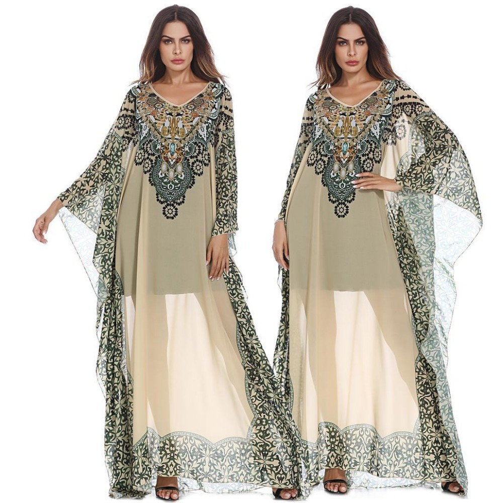 African Dashiki Boho Tribal Print Maxi Kimono Dress For Ladies Sheer Gown Robe Beach Cover Ups Caftan Clothing Women Plus Size
