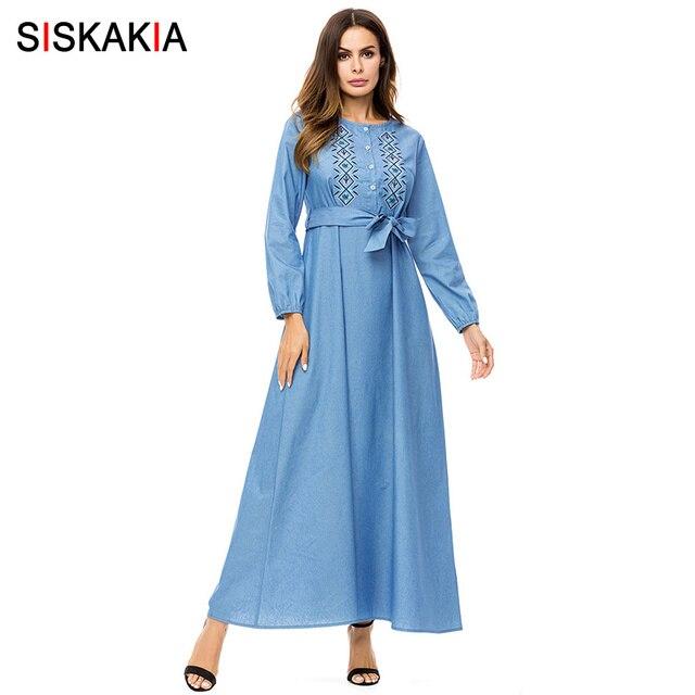 a0546c638e17e Siskakia Korean fashion embroidery maxi dresses Autumn 2018 Single breasted  shirt long dress elegant high waist swing dress UAE-in Dresses from ...